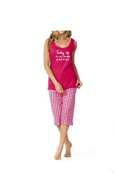 damen pyjama mit top und 3 4 hose pinktrachten dirndl more landhausmode. Black Bedroom Furniture Sets. Home Design Ideas